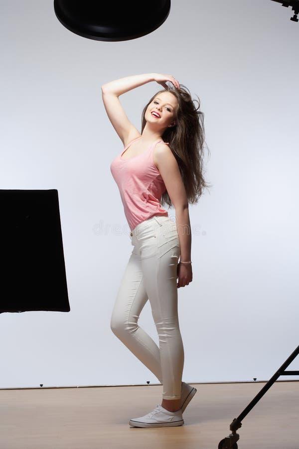 Beautiful Teenage Girl with Long Brown Hair royalty free stock photos