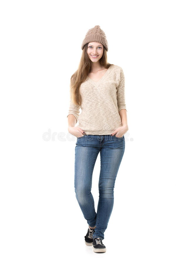 Beautiful teenage girl posing in casual clothes royalty free stock photos