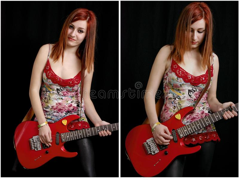 Beautiful teenage girl with a red electric guitar