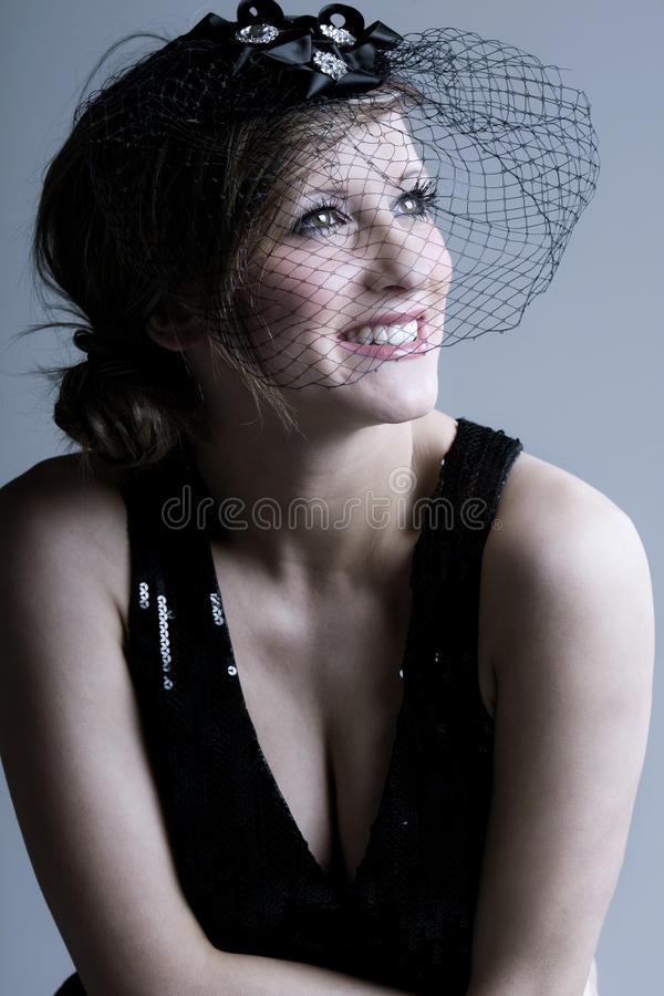 Beautiful Teenage Girl Smiling in Veil stock photography