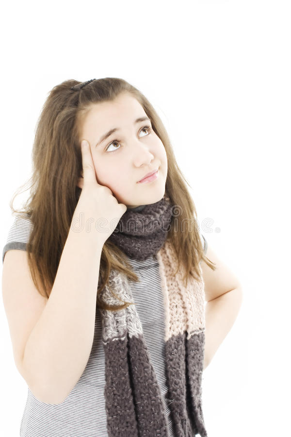 Download Beautiful Teenage Girl Is Thinking And Looking Up Stock Image - Image: 17954853