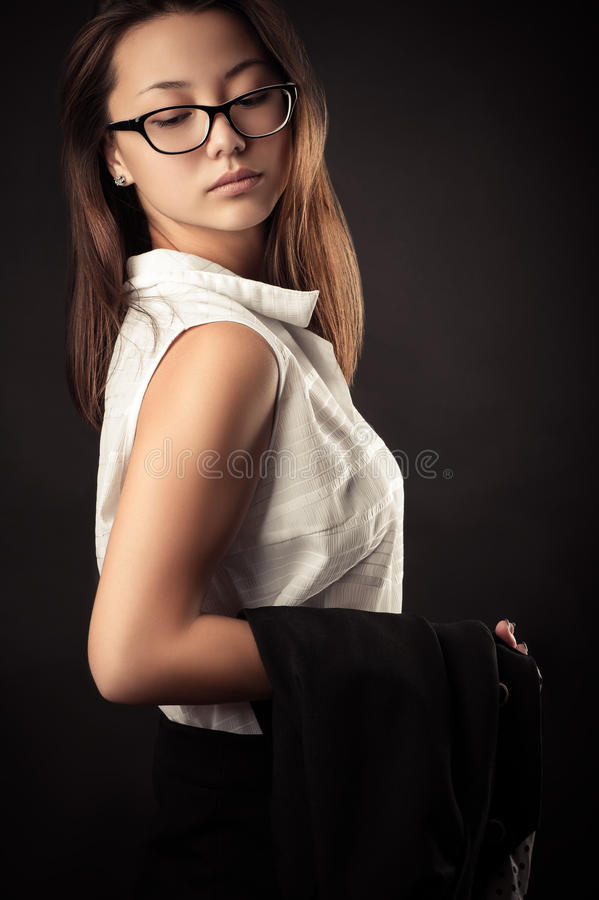 Free Beautiful Teenager Girl In Blouse And Business Suit Stock Images - 76959504
