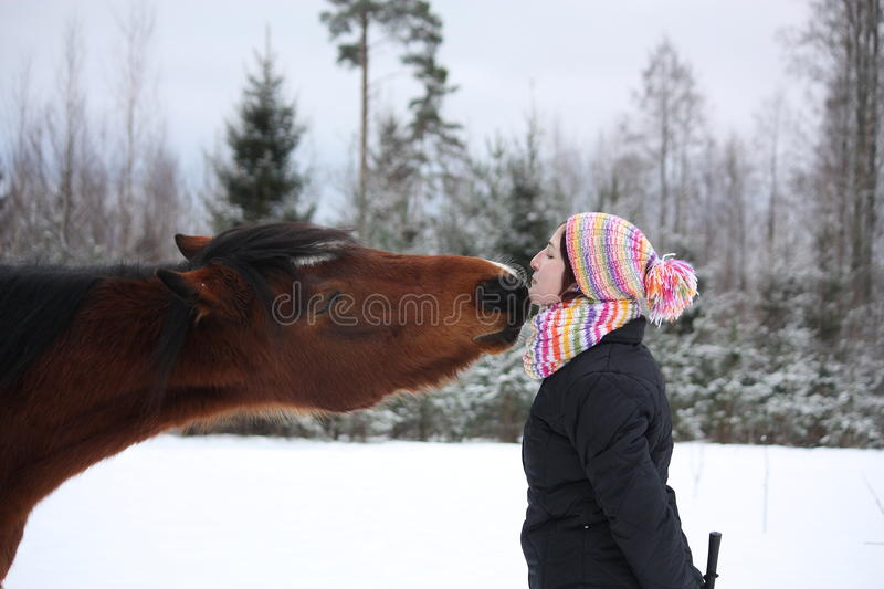 Beautiful teenager girl playfully kissing brown horse in winter. Forest royalty free stock photo