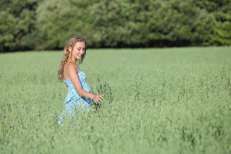 Beautiful teenager girl walking on a green oat meadow stock image