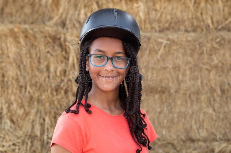 Beautiful teenager with helmet to learning to ride stock photo