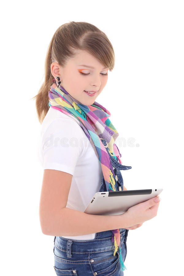 Download Beautiful Teenager Holding Tablet Pc Over White Stock Image - Image: 28937251