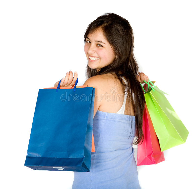 Download Beautiful Teenager With Shopping Bags Stock Photo - Image: 1318232