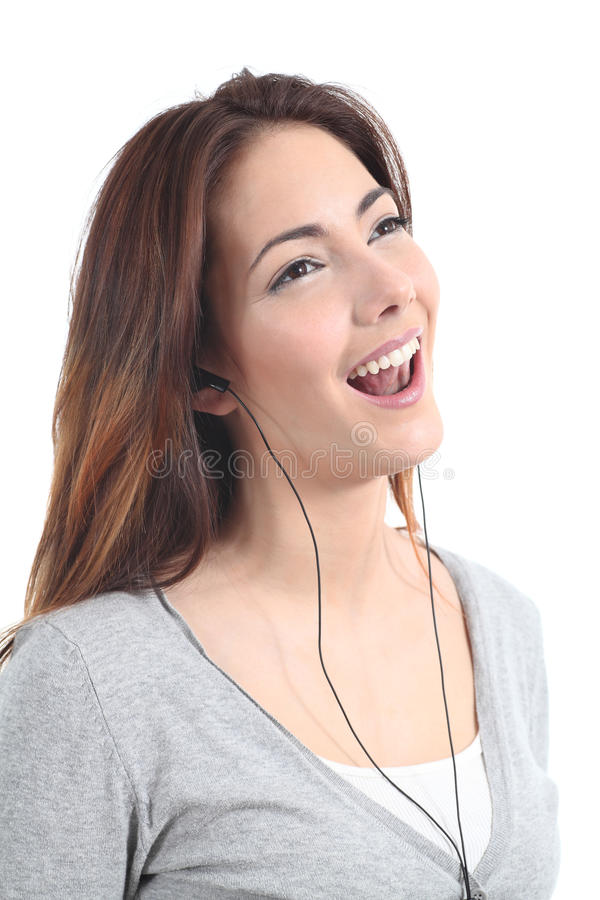 Download Beautiful Teenager Singing And  Listening To The Music With Headphones Stock Photo - Image: 29587620