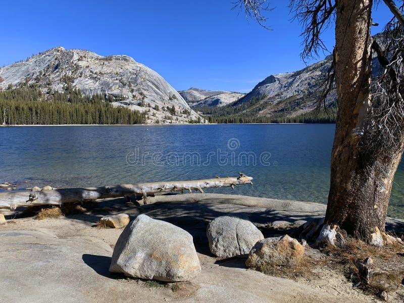 The beautiful Tenaya Lake located on the Tioga Pass, the road through Yosemite National Park stock photo