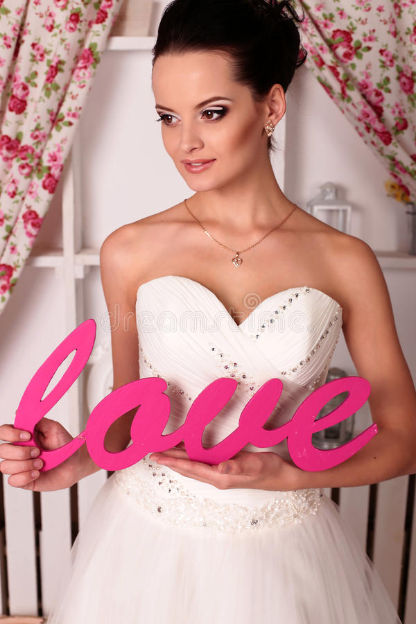 Beautiful Tender Bride In Elegant Wedding Dress Stock Image - Image ...
