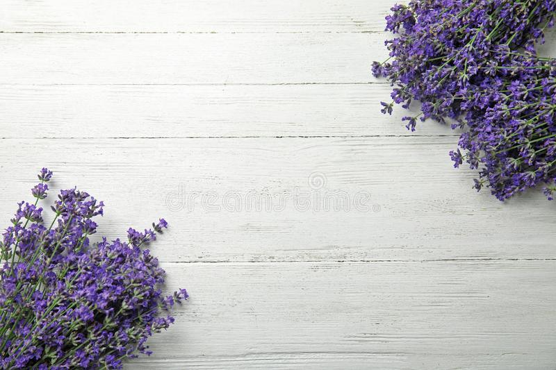 Beautiful tender lavender flowers on hite wooden table, top view. Space. Beautiful tender lavender flowers on white wooden table, top view. Space for text stock photos