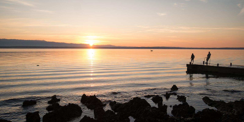 Sunrise above Adriatic sea, Croatia royalty free stock photography