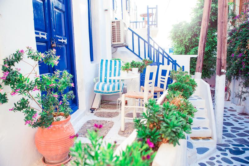 Beautiful terrace exterior with cycladic style. royalty free stock photos