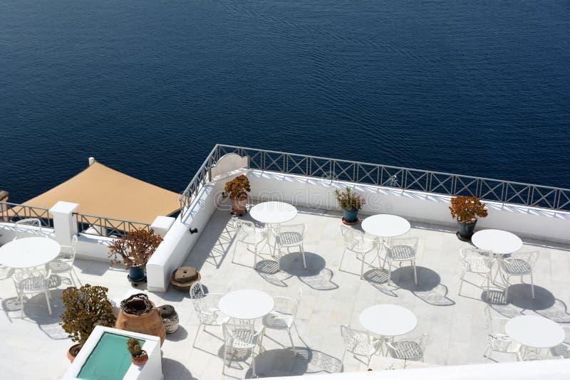 Beautiful terrace with sea view on Santorini island, Greece.  stock image