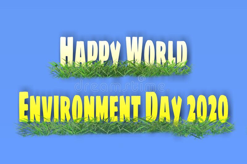 Beautiful text art designed with grass about environment day 2020 stock image