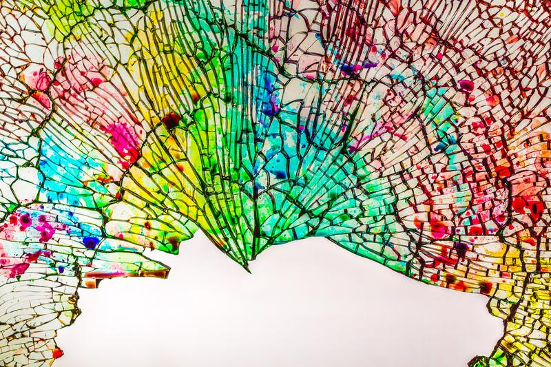 The beautiful texture of the broken colored glass into small pieces royalty free stock image