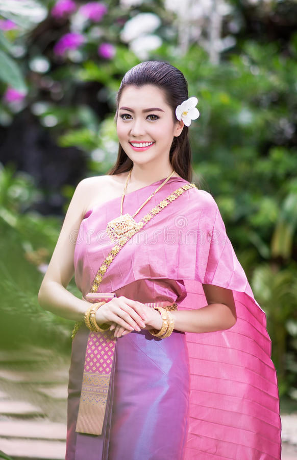 Download Beautiful Thai Girl In Traditional Costume Stock Photo