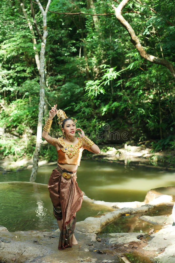 Beautiful Thai Lady In Thai Traditional Drama Dress Stock Image