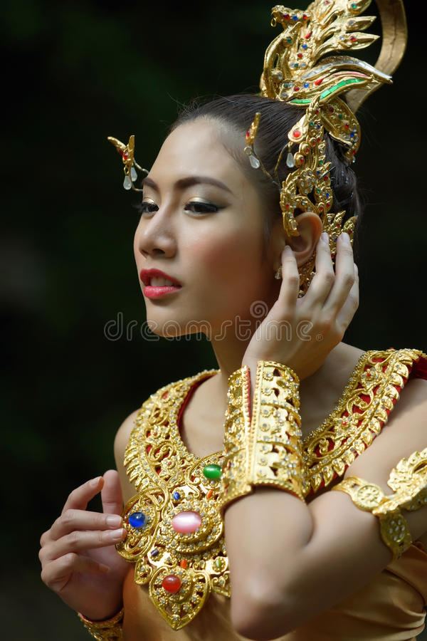 Download Beautiful Thai Lady In Thai Traditional Drama Dress Stock Photo - Image: 33579210