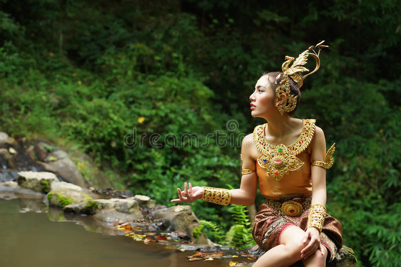 Download Beautiful Thai Lady In Thai Traditional Drama Dress Stock Image - Image of forest, classical: 33597839