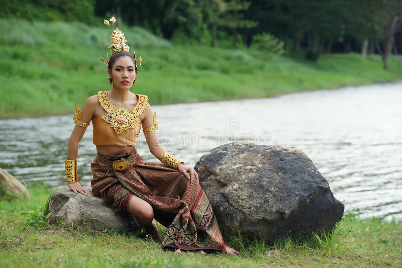 Download Beautiful Thai Lady In Thai Traditional Drama Dress Stock Photo - Image: 33598612