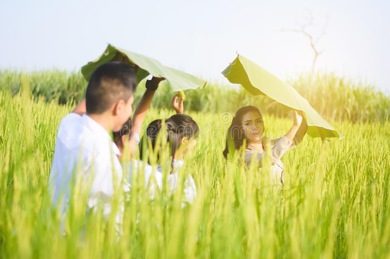 Beautiful Thai Teacher teaching student to learn natural stock photography