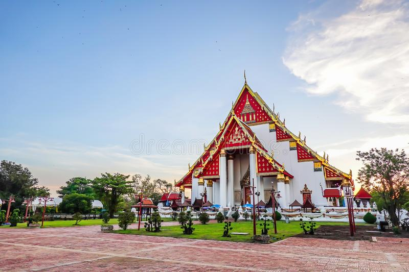Beautiful Thai temple at Wat Mongkol Bophit Old Temple in Ayutthaya period is the capital. At thailand stock photography