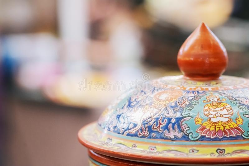 Beautiful Thailand Handmade Traditional Earthenware close up stock photography
