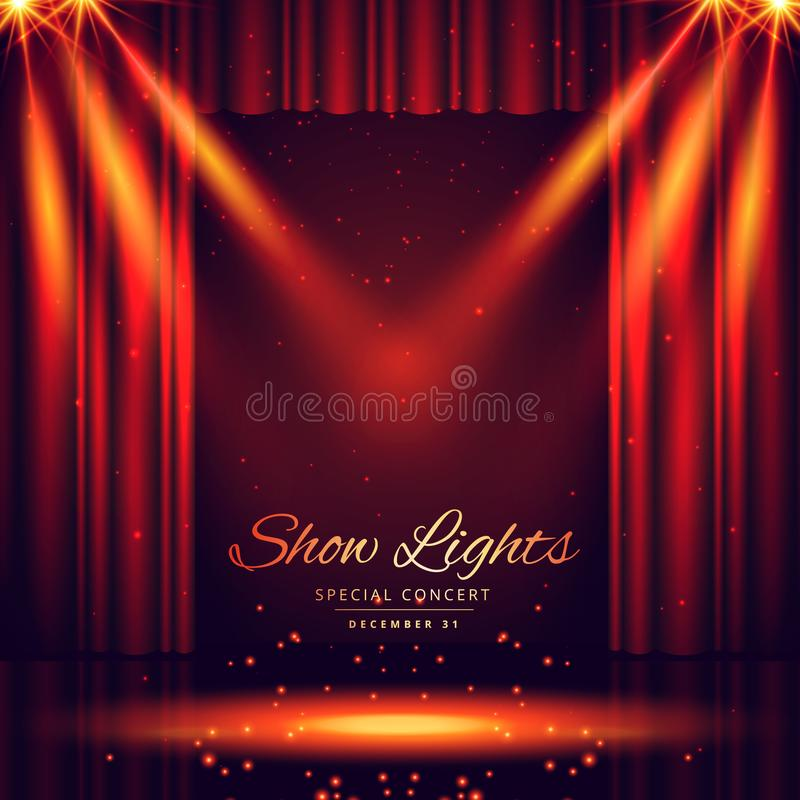 Beautiful theater stage with lights focus royalty free illustration