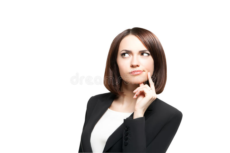 Beautiful thinking business woman isolated royalty free stock photos