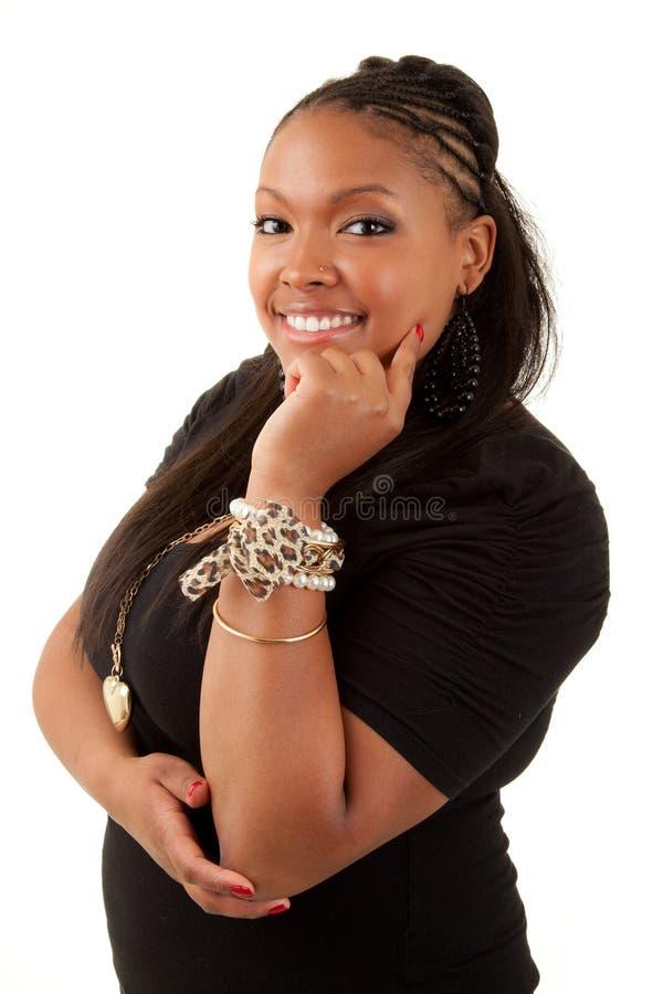 Beautiful thoughtful african american woman stock photography