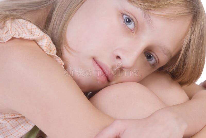 Beautiful thoughtful blonde girl royalty free stock photos