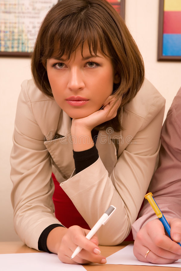 Download Beautiful Thoughtful Businesswoman Stock Image - Image: 4421565