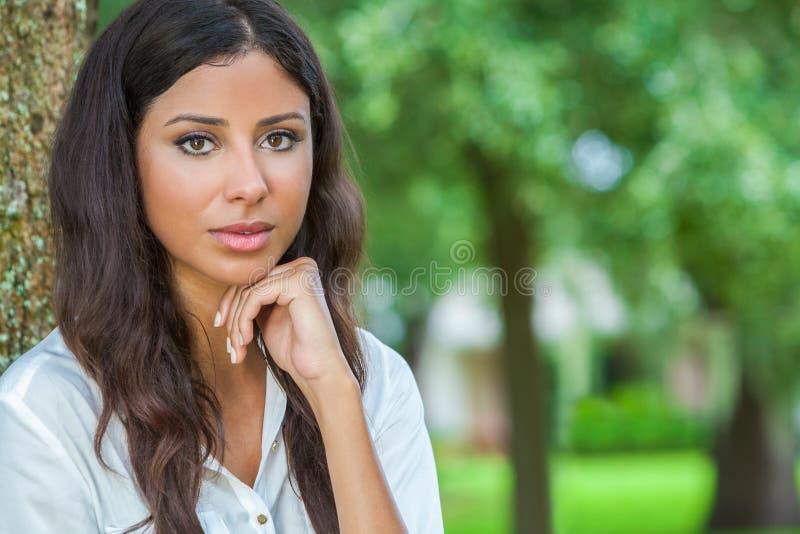 Beautiful Thoughtful Hispanic Woman stock photos