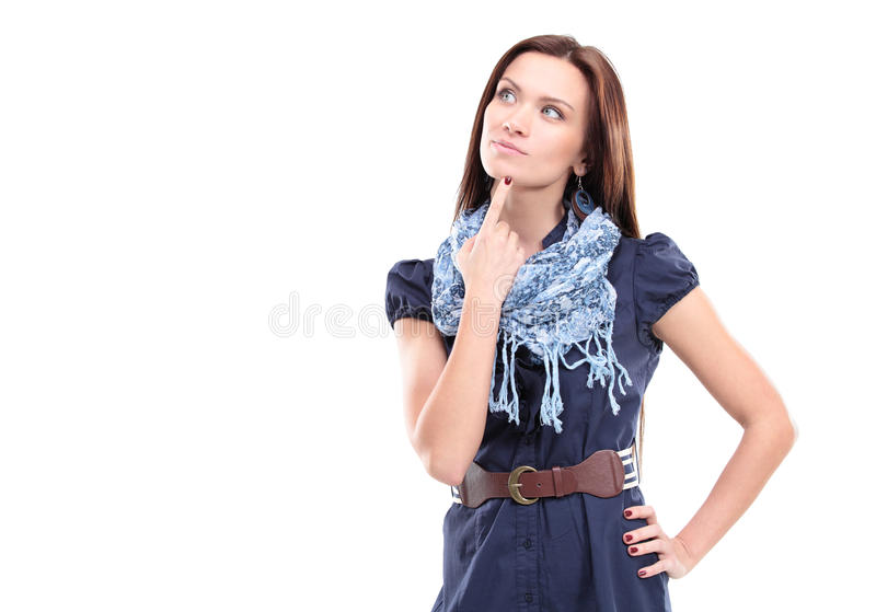 Beautiful thoughtful woman looking up royalty free stock images