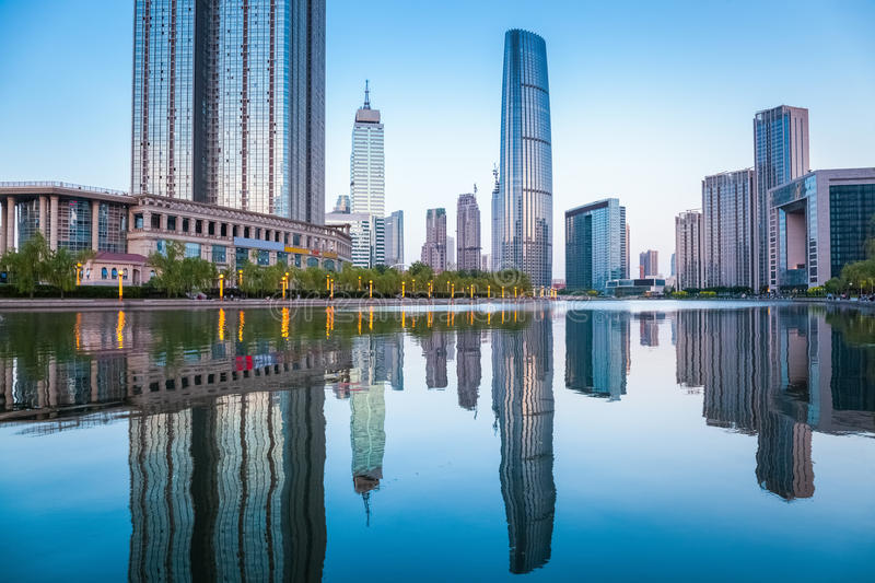 Beautiful tianjin cityscape at dusk stock image