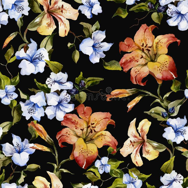 Beautiful tiger lilies and small blue flowers on twigs against black background. Seamless floral pattern. Watercolor painting. Hand painted illustration vector illustration