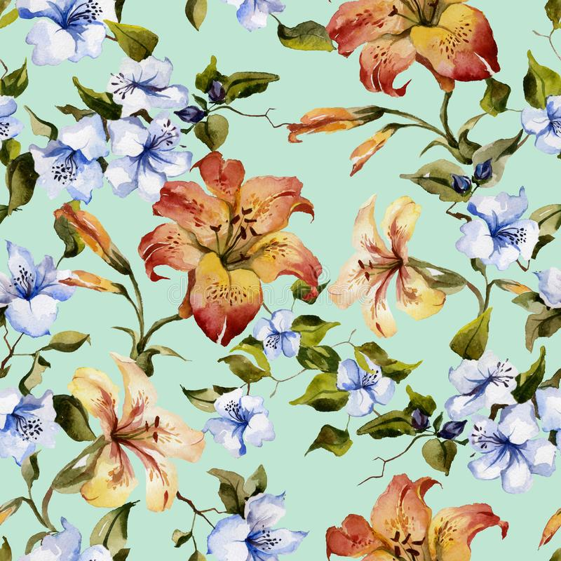 Beautiful tiger lilies and small blue flowers on twigs against light blue background. Seamless floral pattern. Watercolor painting stock illustration