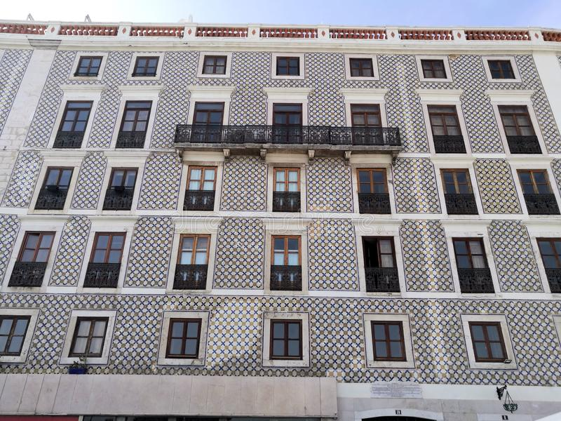 Beautiful tile building in Lisbon Portugal stock image