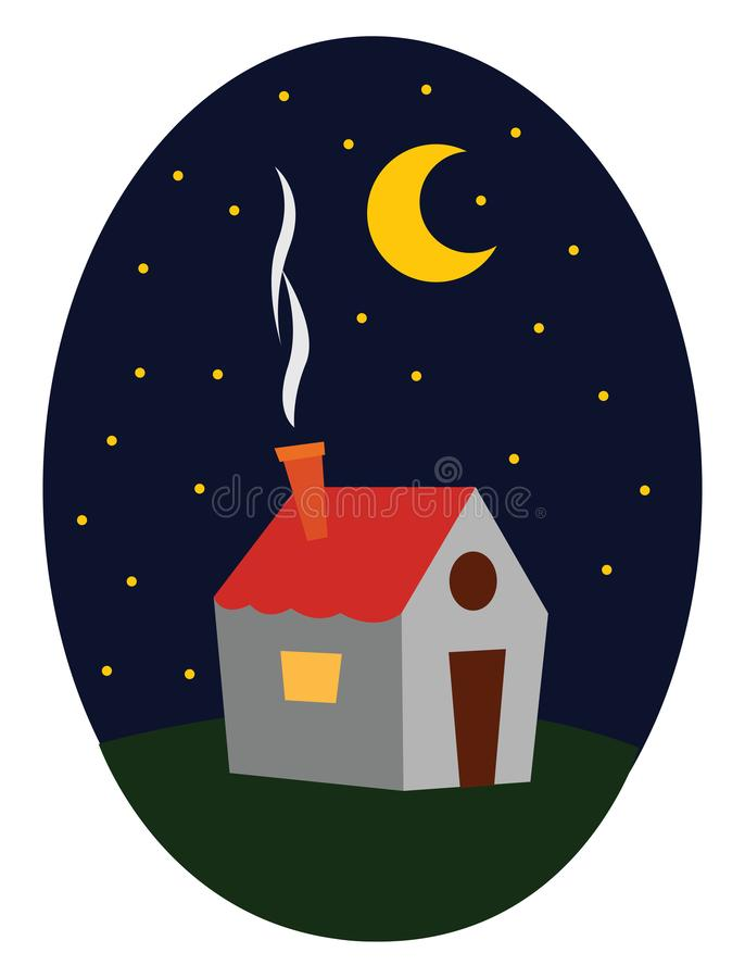 A beautiful tiny house , vector or color illustration. A beautiful tiny house with red roof and a fuming chimney open to beautiful night sky, vector, color stock illustration