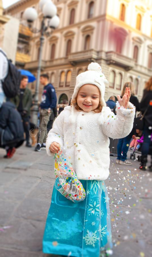 Beautiful toddler girl dressed as a carnival princess royalty free stock photos