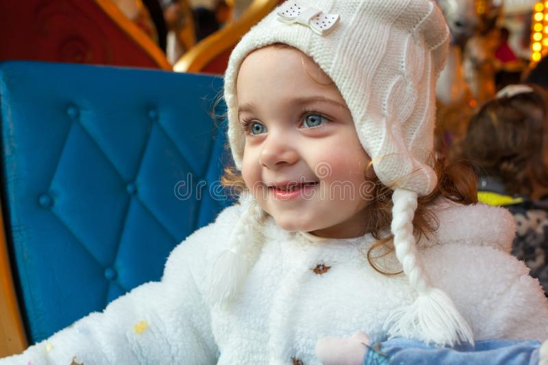 Beautiful toddler girl dressed as a carnival princess royalty free stock photo