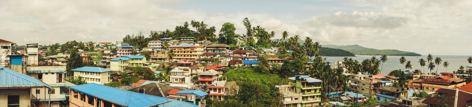 beautiful top view of the city of port Blair royalty free stock photography