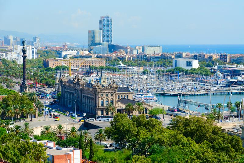 Beautiful top view from mountain Montjuic to Barcelona, Spain royalty free stock photos