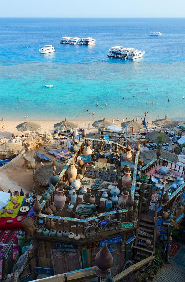 Beautiful top view of popular Farsha cafe on shore of Red Sea in Hadaba district, Sharm El Sheikh, Egypt royalty free stock image