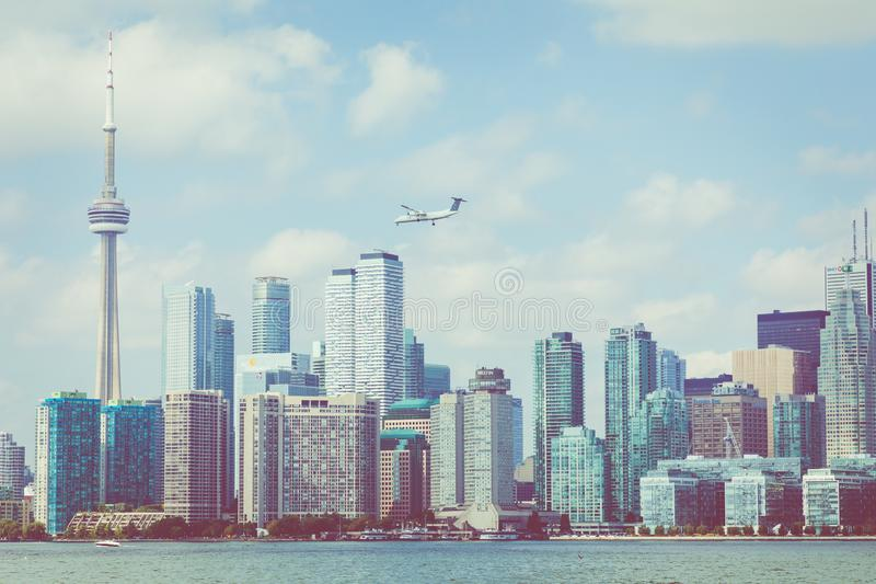 Beautiful Toronto`s skyline over lake. Toronto, Ontario, Canada. Beautiful Toronto`s skyline over lake. Toronto, Ontario, Canada stock photography