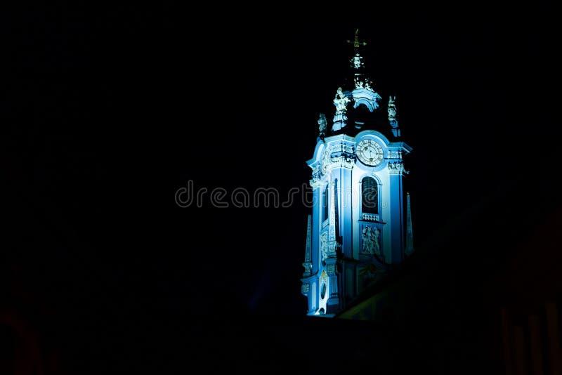 Beautiful tower of Durnstein abbey at night. Wachau valley, Austria stock photography