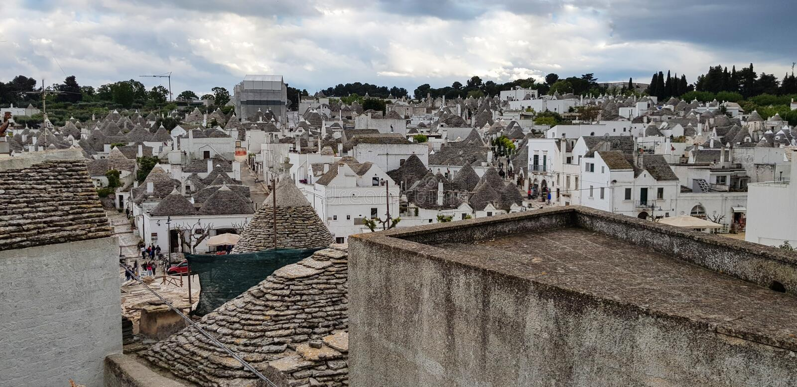 Beautiful town of Alberobello with trulli houses. It is an Italian town in the metropolitan city of Bari, in Puglia,  Italy.  royalty free stock photography