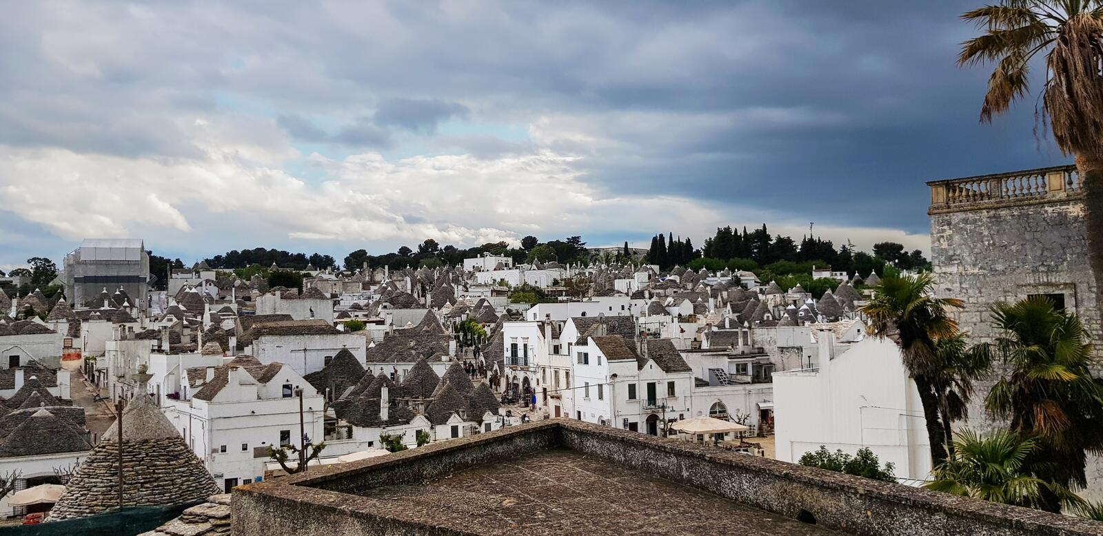 Beautiful town of Alberobello with trulli houses. It is an Italian town in the metropolitan city of Bari, in Puglia,  Italy.  stock photography