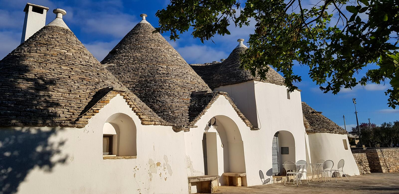 Beautiful town of Alberobello with trulli houses. It is an Italian town in the metropolitan city of Bari, in Puglia,  Italy.  royalty free stock images